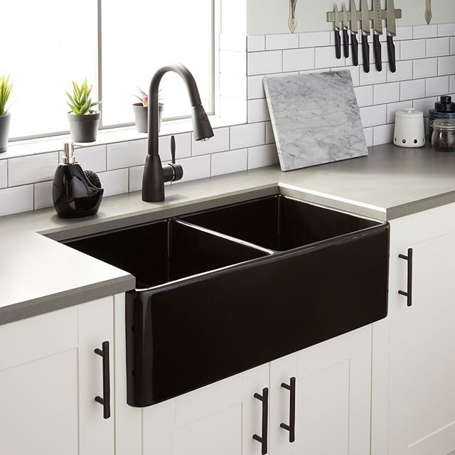 """Signature Hardware on Instagram: """"Add charm and function to your kitchen with a double-bowl farmhouse sink. For a striking contrast, pair a black farmhouse sink with white…"""""""