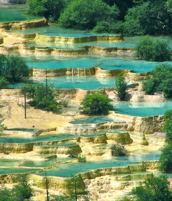 Huanglong Pools, China. This area is known for its