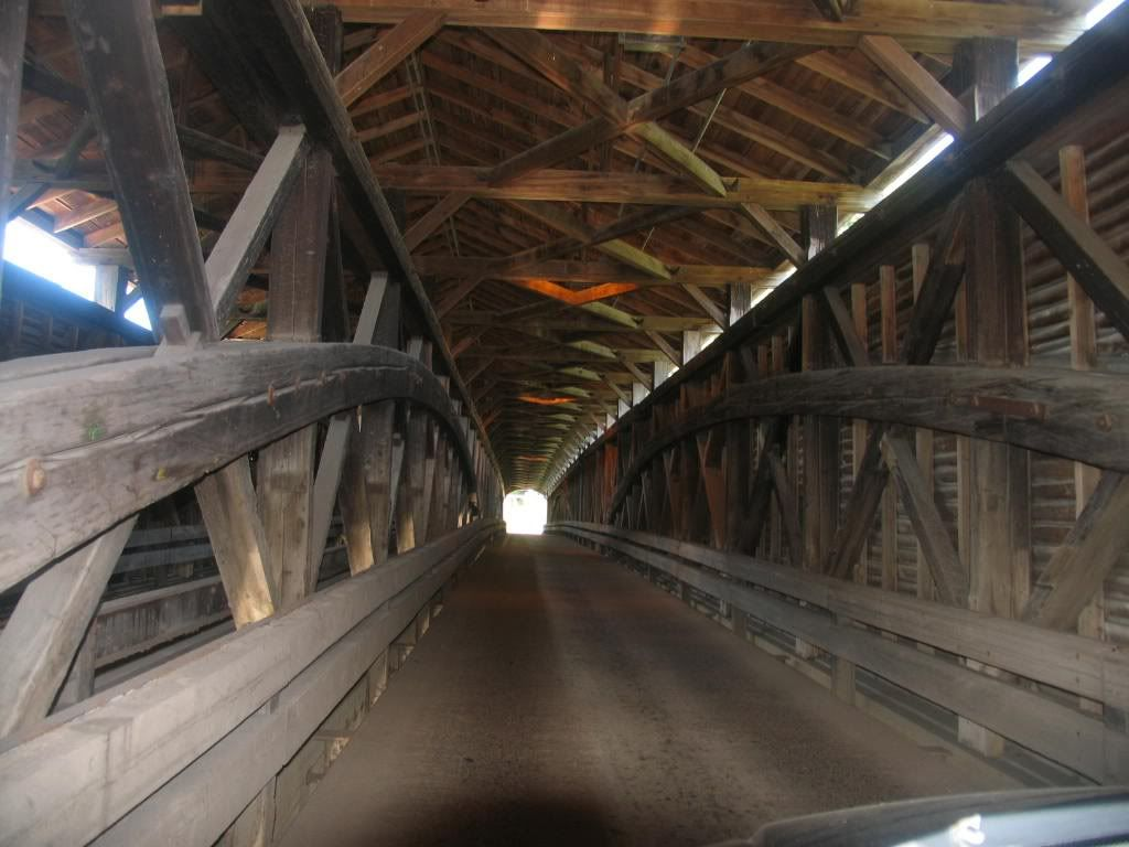 The view from inside the covered bridge in Philippi, WV ...