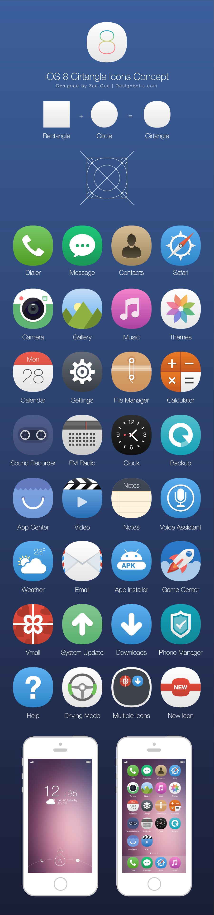 Cirtangle iOS 8 Icons Concept + Free Icons to try 100
