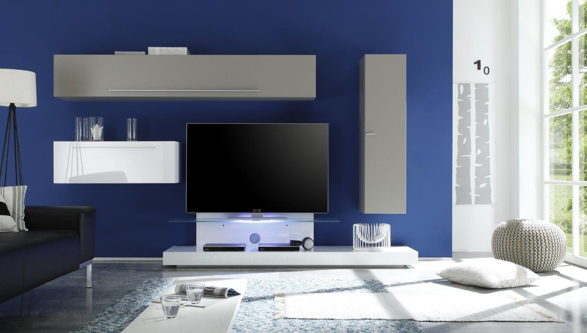 composition tv murale design blanc