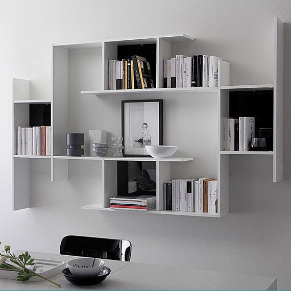 Attractive Open Wall Mounted Floating Wooden Bookcase GAME By DOMITALIA Design Studio  Balutto Associati