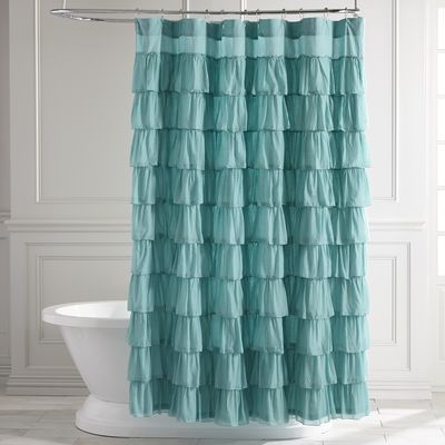 Ruffled Turquoise Shower Curtain Ruffle Shower Curtains Unique Curtains Curtains
