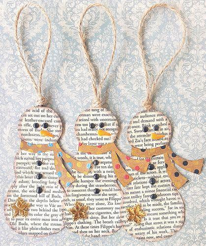 Book Page Snowmen Ornaments