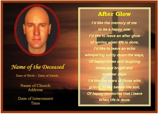 Memorial Card Template Free | Download Word Template Of This Example Funeral  Card Great Ideas