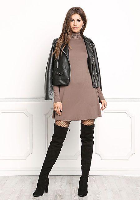Mocha Jersey Knit Turtleneck Shift Dress