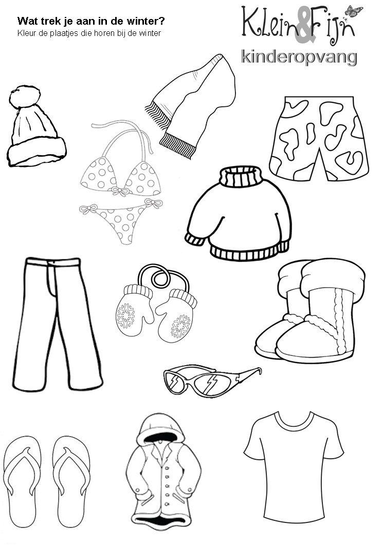 werkblad winter kleding thema winterkledij