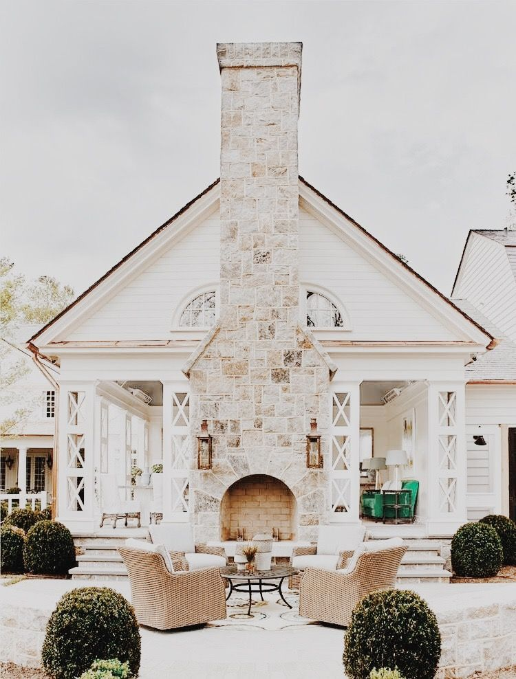 What A Gorgeous Fireplace House House Exterior Outdoor Fireplace