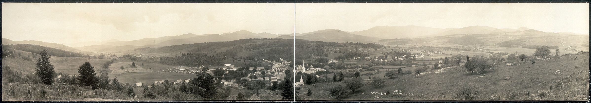 Panoramic view of Stowe Vermont from 1914