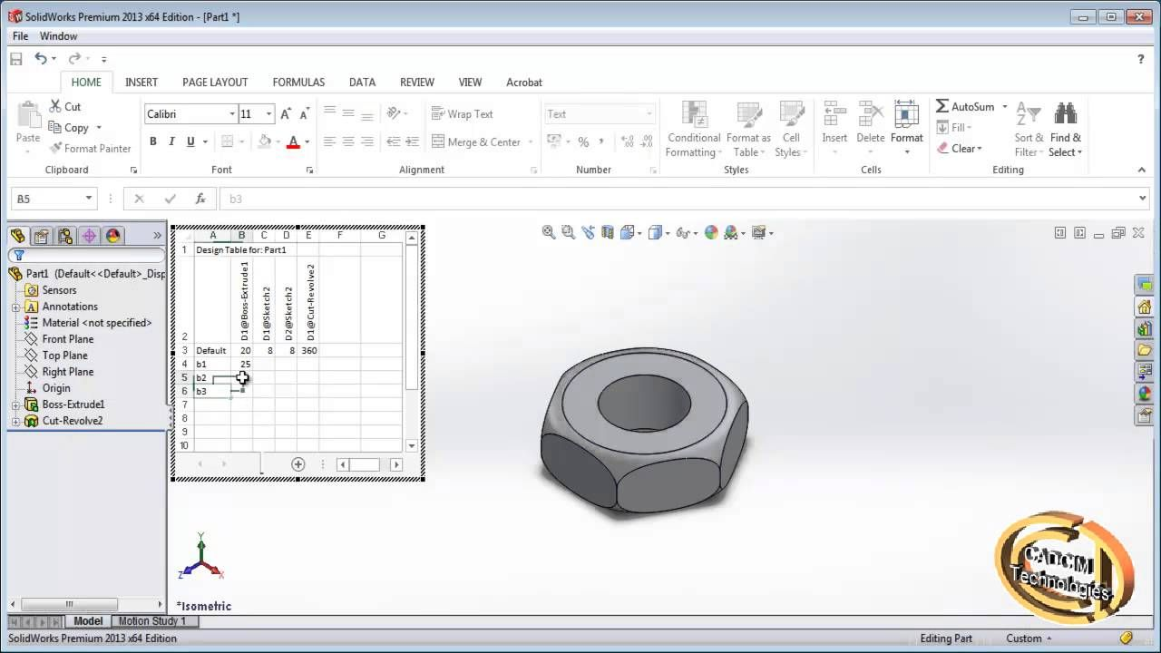 Creating Configuration Using Design Table In Solidworks Design Solidworks Table Design