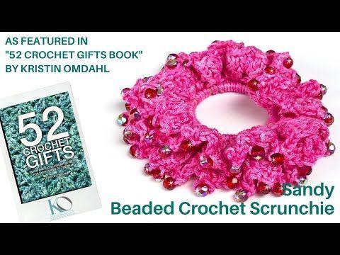 Sandy Beaded Crochet Scrunchie Easy Beginner Gift Project - YouTube #crochetscrunchies Sandy Beaded Crochet Scrunchie Easy Beginner Gift Project - YouTube #crochetscrunchies
