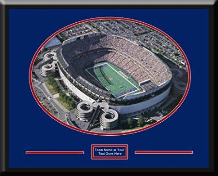 New York Giants MetLife Aerial View Large Stadium Poster with team plaque