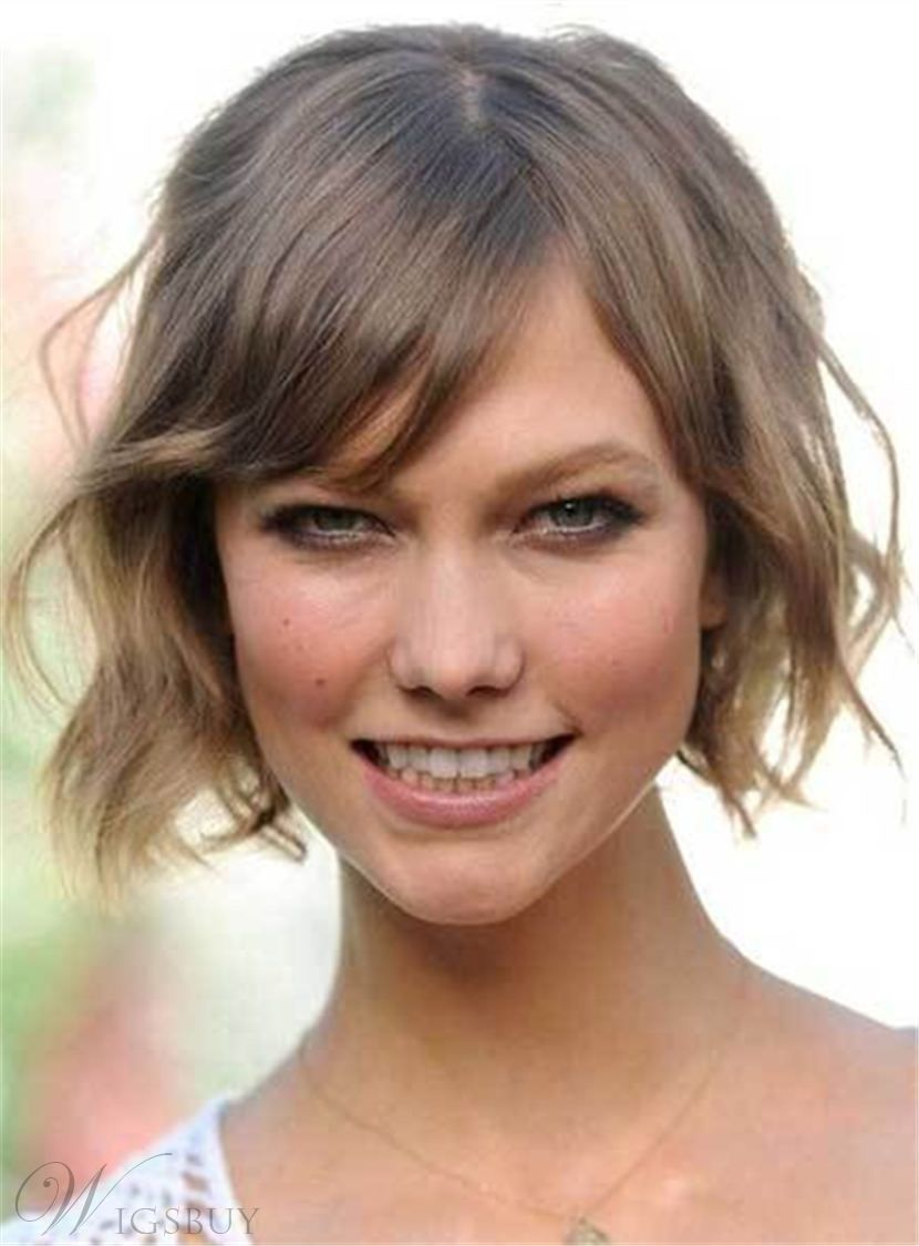 Short cute sweet fashionable wavy synthetic hair capless women wigs
