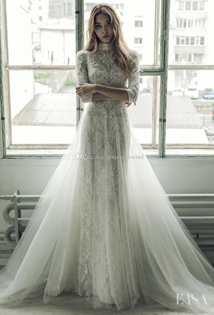 abnehmbare zug brautkleider 2017 ersa atelier juwel ausschnitt 3/4 hülse stickerei spitze mantel brautkleid - Hochzeit und Braut #greekweddingdresses
