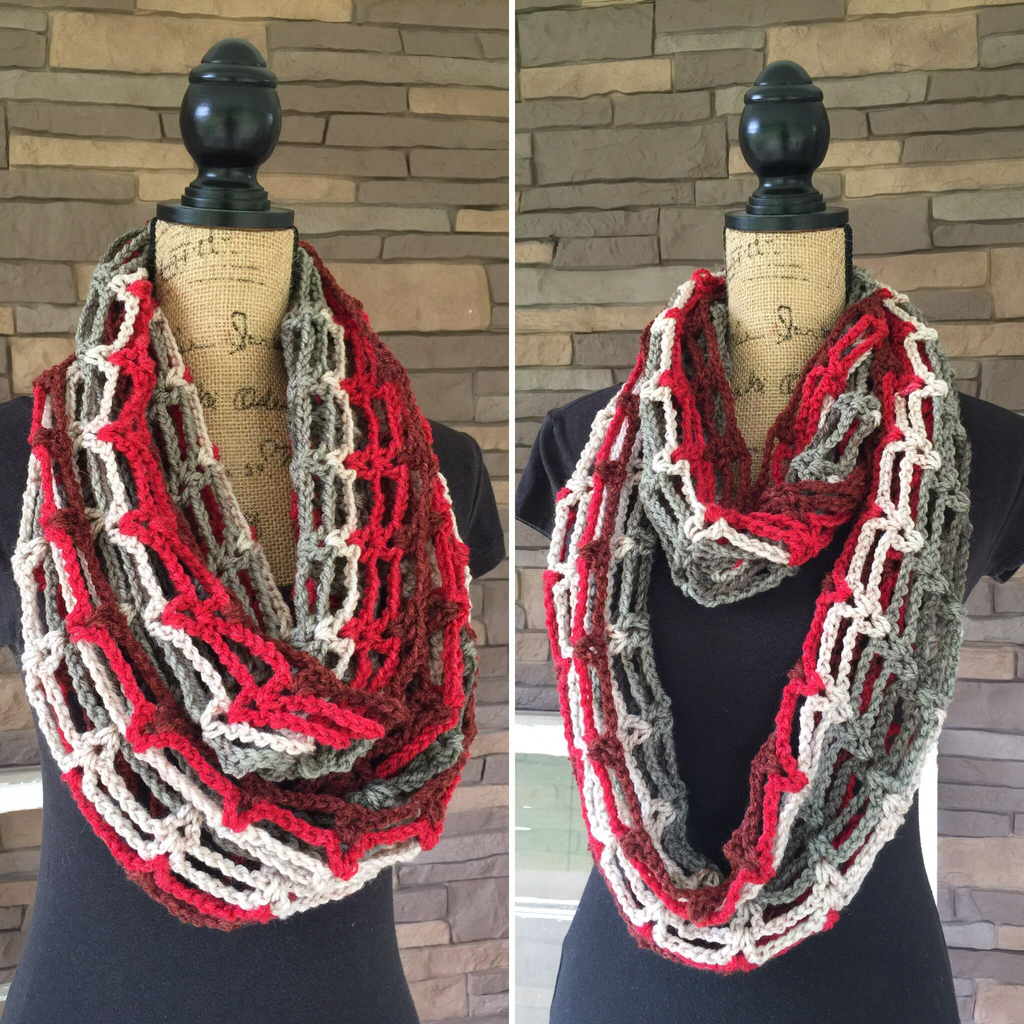 Red Velvet infinity scarf made with Caron Cake yarn. Love these colors. Go by and like Farmhouse Rustic Decor on Facebook