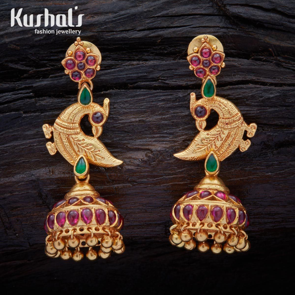 beautifully crafted south indian traditional silver temple peacock earrings with hanging beads