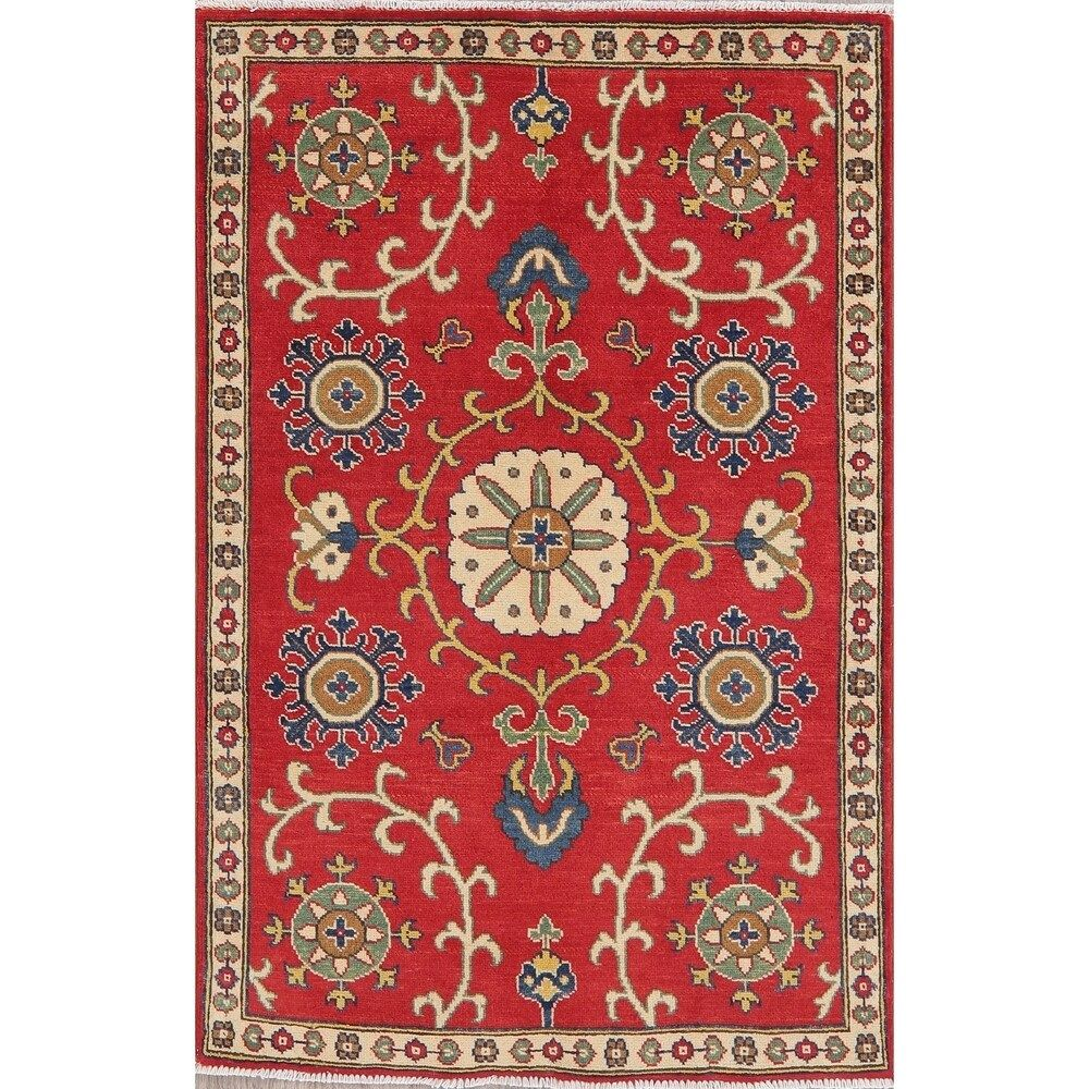 Traditional Kazak Oriental Carpet Hand Knotted Wool Pakistani Area Rug 4 11 X 3 3 4 11 X 3 3 Red In 2020 Area Rugs Rugs Geometric Rug