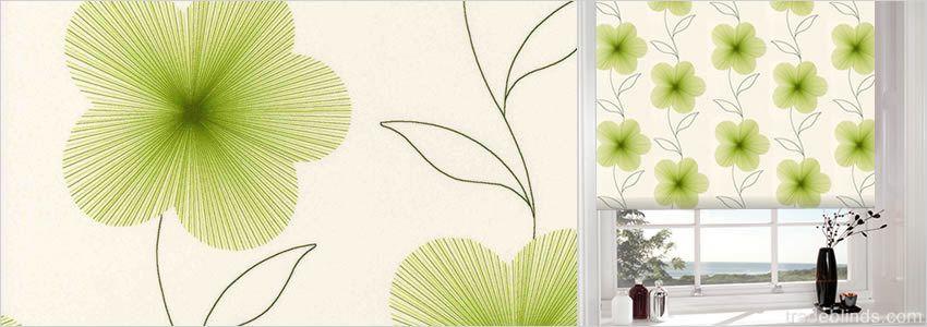 Digital Flowers Green Printed Roller Blinds Wide Green Blinds