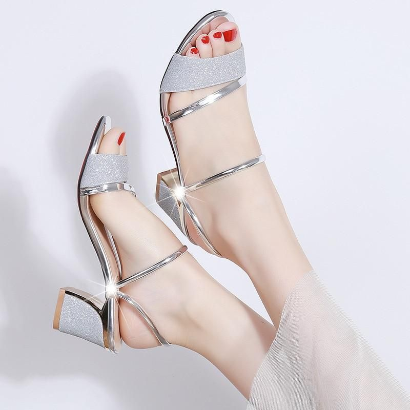 Heel Height 6cm Sandals Women Shoes Peep toe Square Heels Ladies Sandals Summer Shoes Woman Fashion-