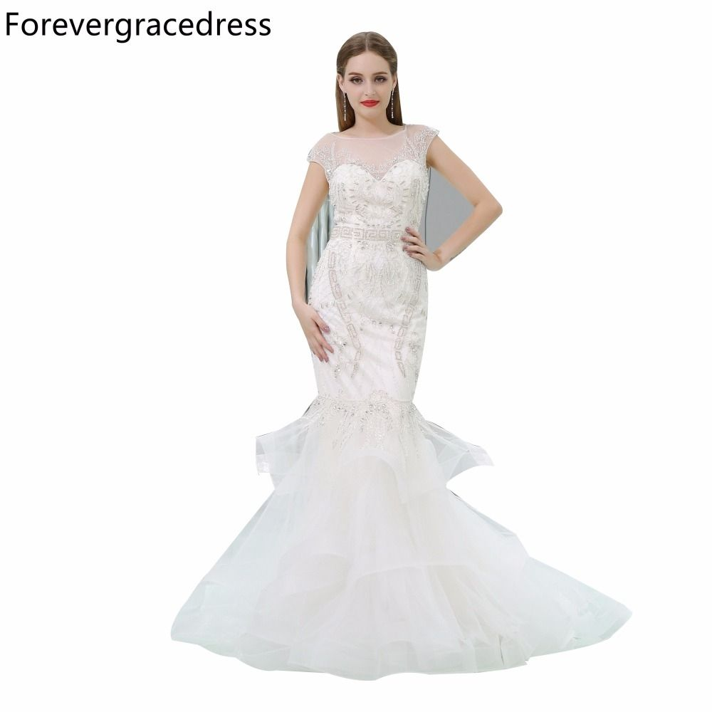 Forevergracedress Sexy Illusion Neck Evening Dress Mermaid Cap Sleeve  Beaded Formal Long Party Gown Plus Size d114167ea2e9