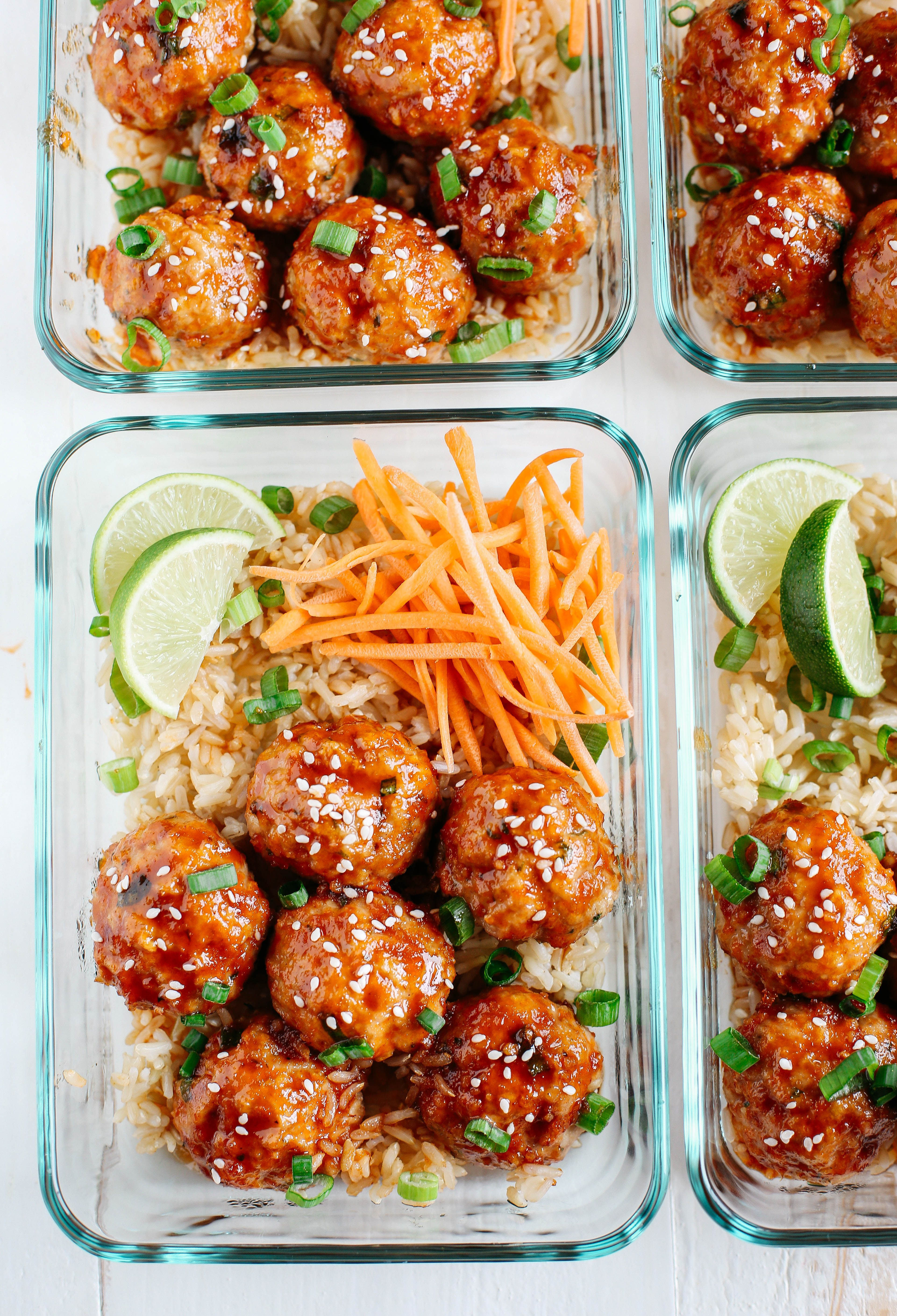 Honey Sriracha Glazed Meatballs Recipe Lunch Meal Prep