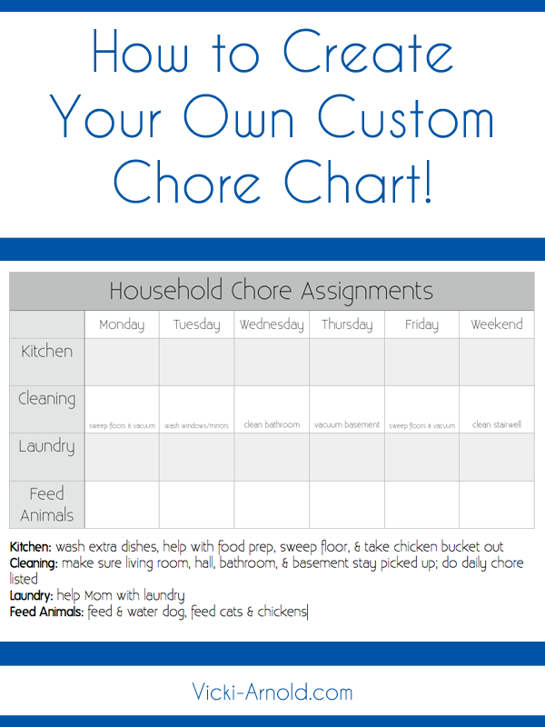 How to create a custom chore chart printable chore chart for How can i design my own home