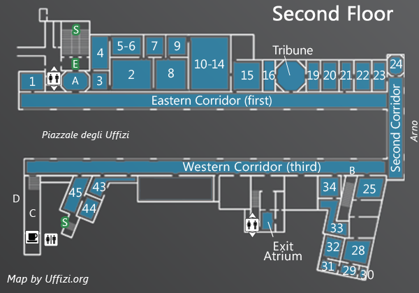 Map Of The Second Floor Of The Uffizi In 2019 Museum