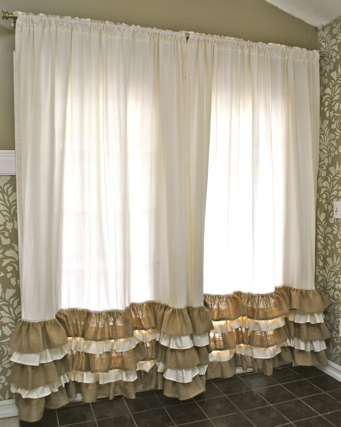 ruffled bottom burlap curtain drapes burlap curtain ideas and ruffled bottom burlap curtain drapes