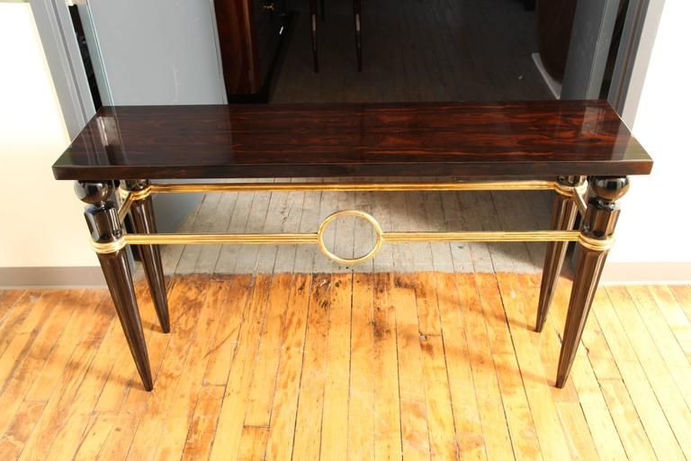Art Deco Console Table In Macassar Ebony And Brass Circa 1940 9 Art Deco Console Table Console Table Table