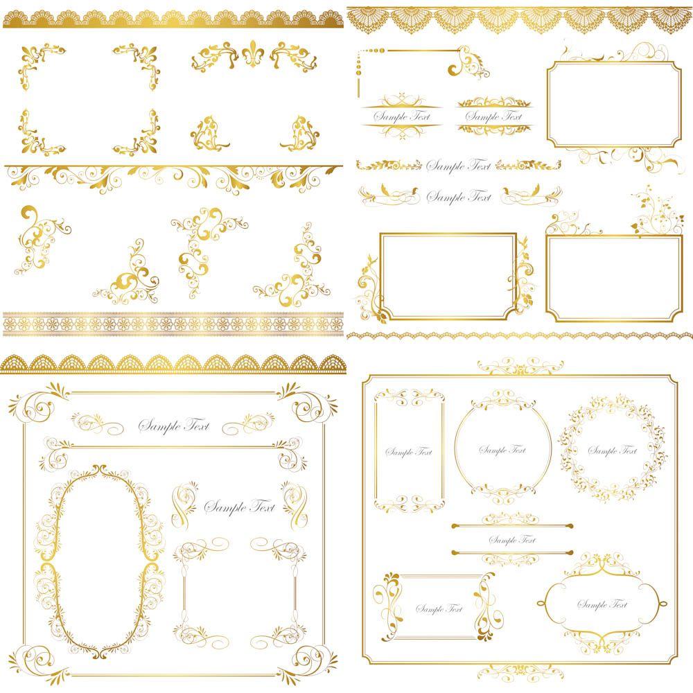 Gold frames, corners, ornaments vector   Frames   Pinterest   Karten ...