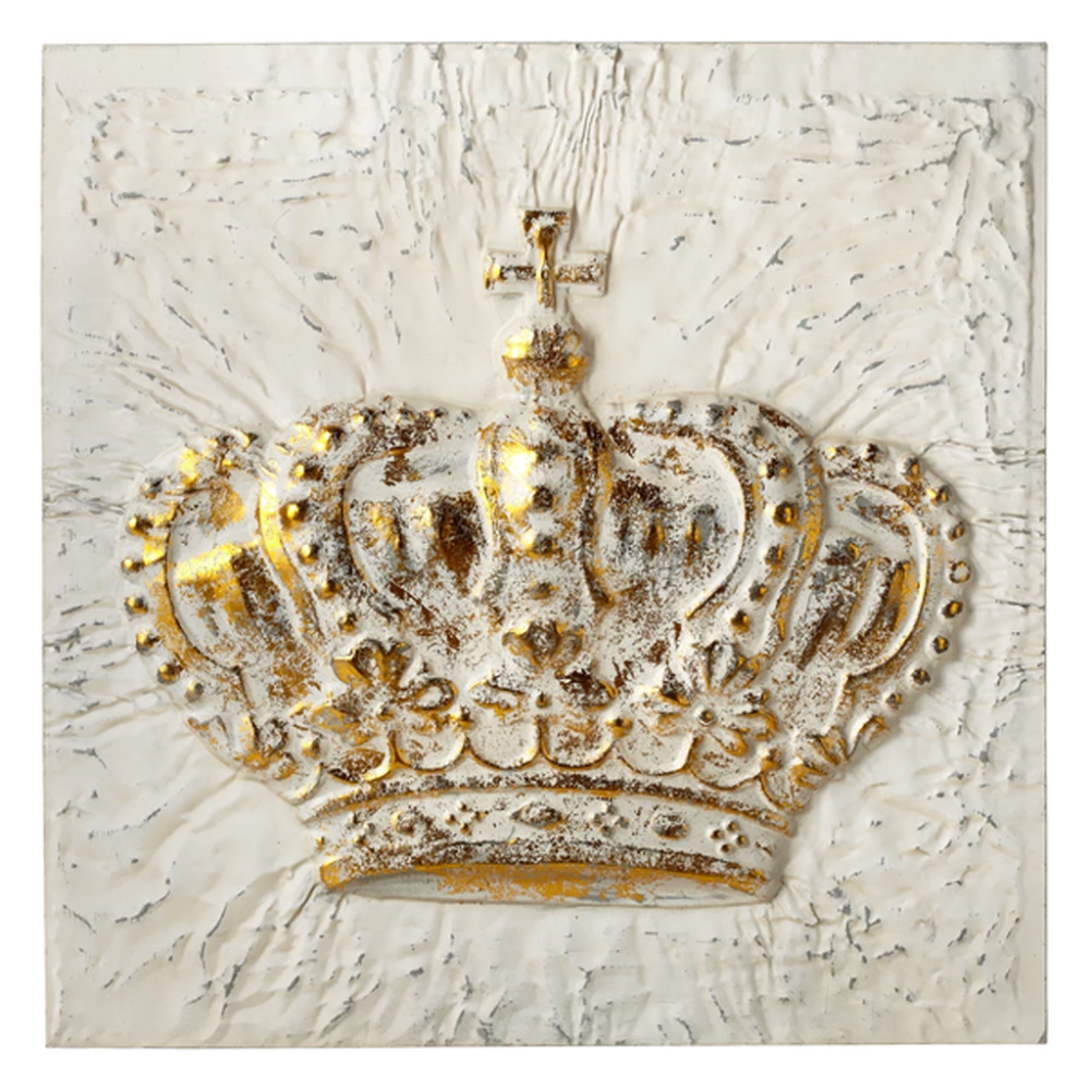 White With Gold Embossed Crown Wall Decor Jubilee Gift Shop Crown Wall Decor Wall Art Crafts Rustic Wall Art