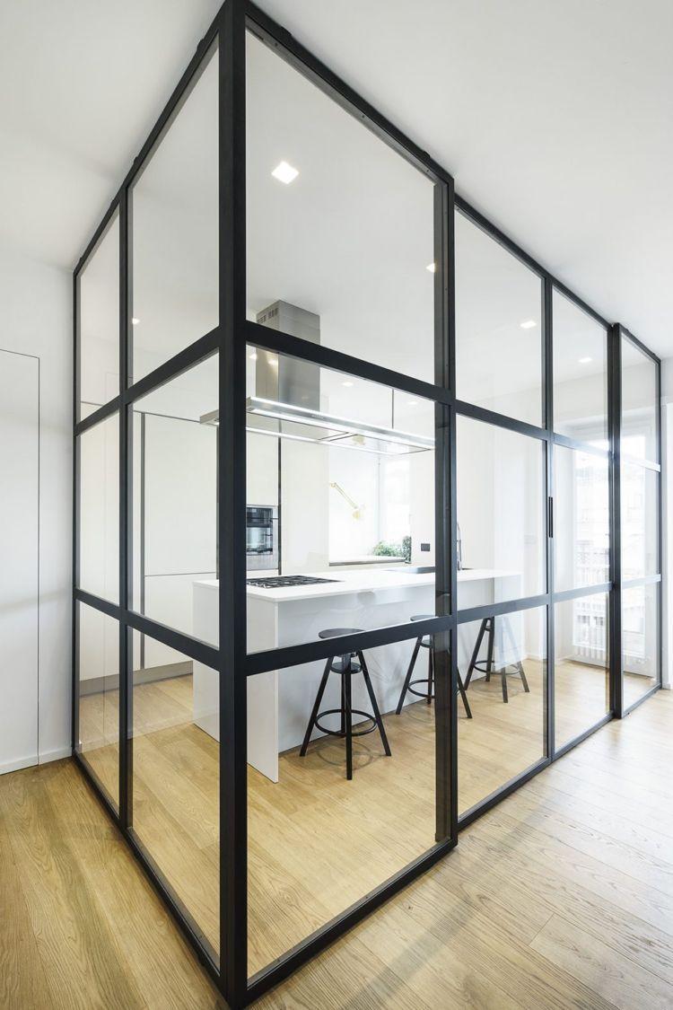 Loft Fenster raumteiler glas stahl holzboden moderne küche weiss fenster und