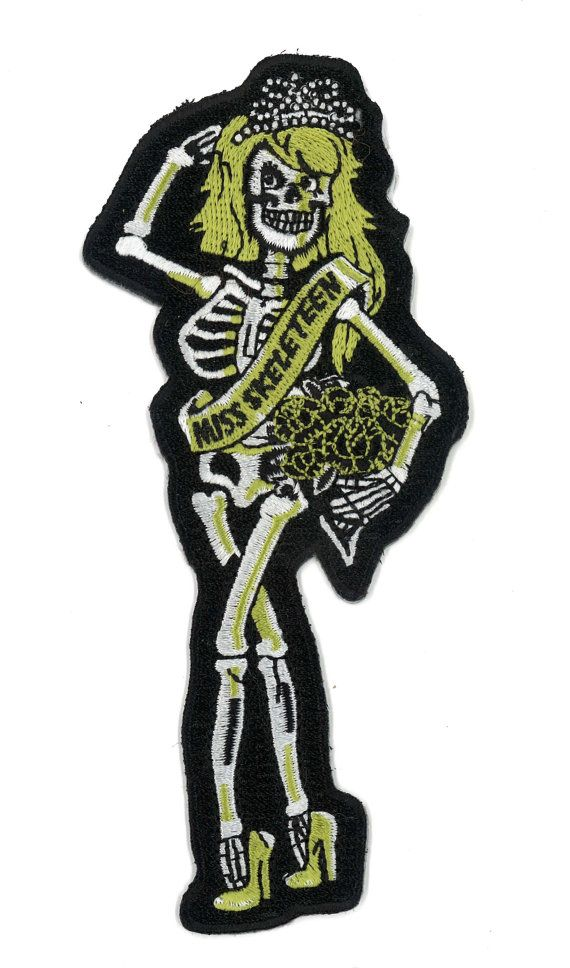 Iron On Skeleton Girl Patch Miss Skeleteen Dead by PsychoSwami