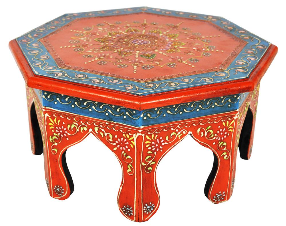 Indian Wooden Chowki Round Table Meenakari Hand Painted Moroccan