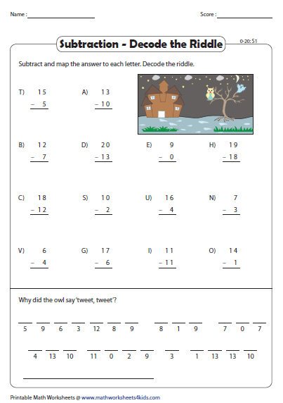 Decode The Riddle 2 Digit And Single Digit Subtraction Math Fact Worksheets Math Riddles Subtraction Worksheets