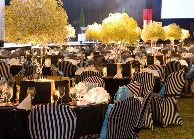 chair cover rentals hartford ct mid century tulip table and chairs black white striped covers from decor added to the simple colour scheme in dining room photo henry lin