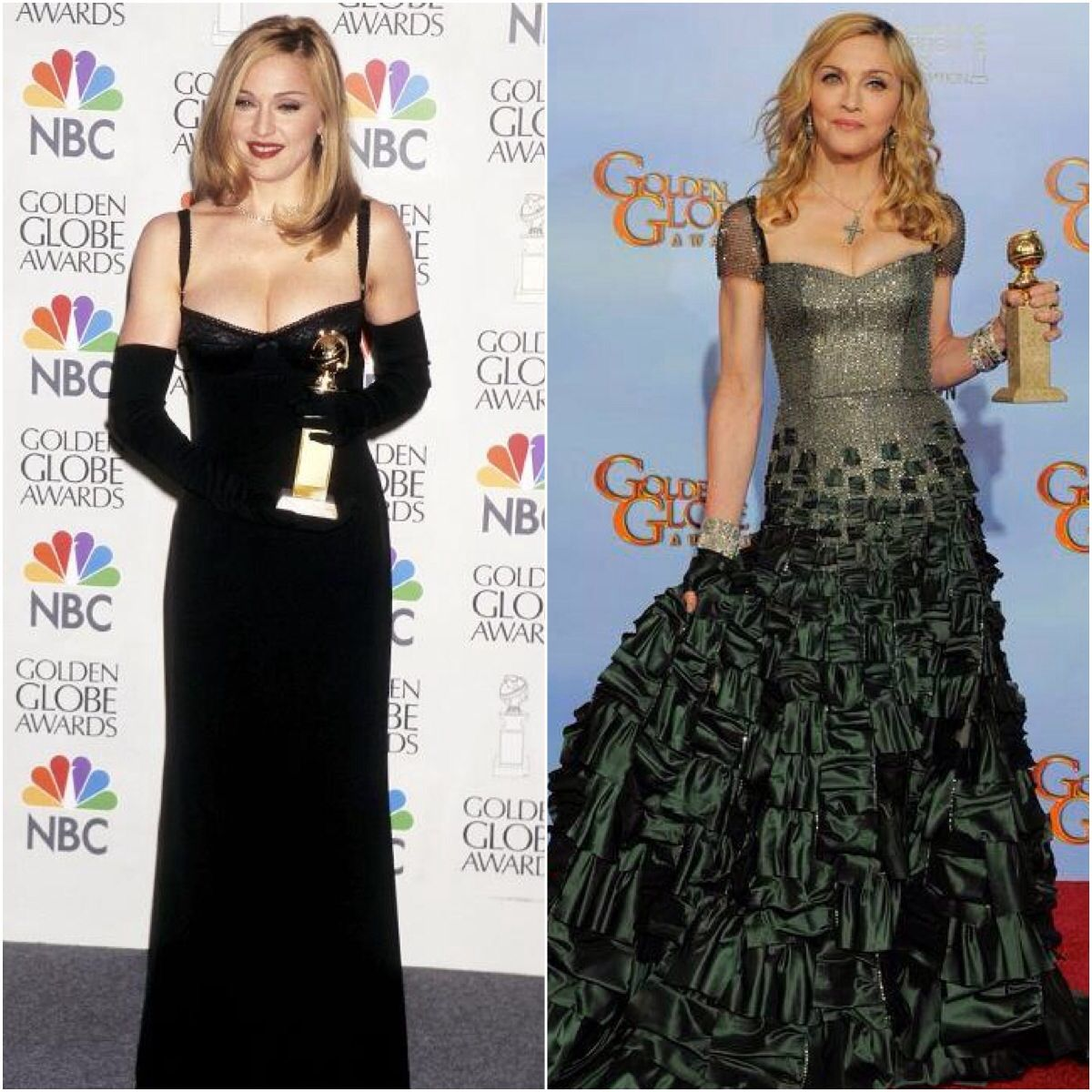 Green n gold dress    Madonna winning the Golden Globe for her lead role as Evita