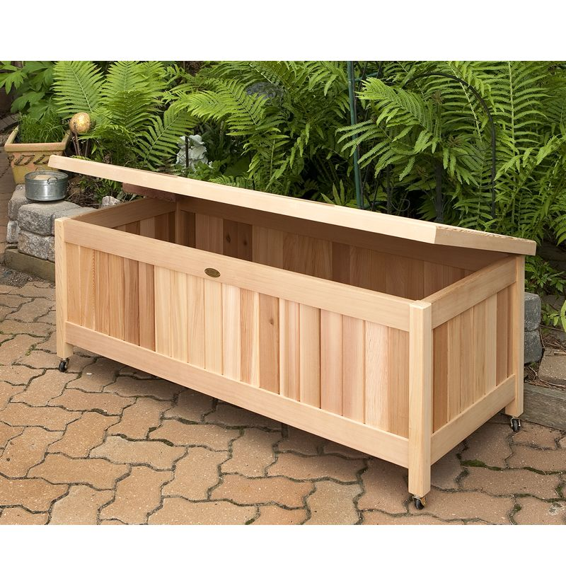 Outdoor cedar storage box great for toys gardening Deck storage bench