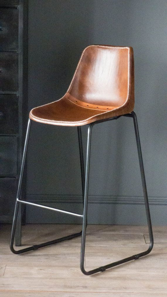 Industrial Vintage Road House Tan Bar Stool Tan Leather Covered