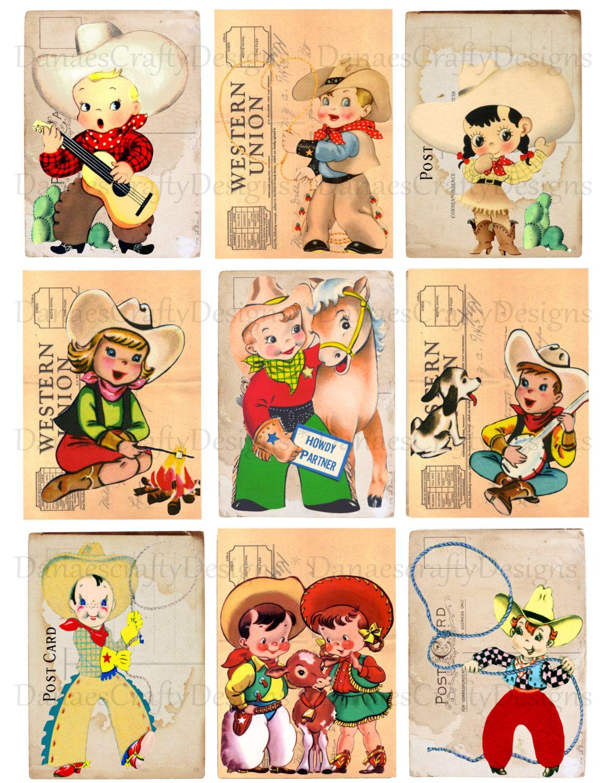 Retro Cowboy Amp Cowgirl Children Tag Collage Sheet