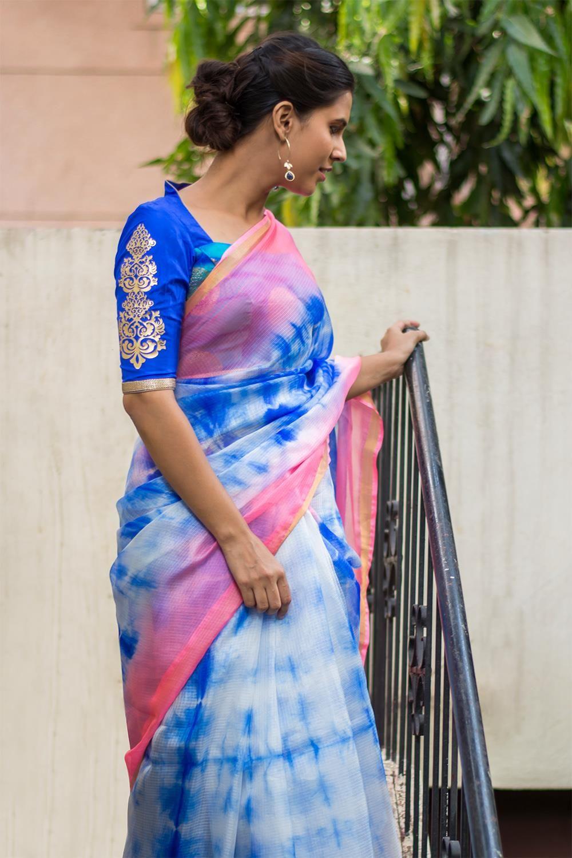 12ad1ba9763d6 Royal blue and pink shibori shaded silk Kota saree  saree  blouse   houseofblouse  indian  bollywood  style  pink  blue  shibori  shaded  silk   kota  gold   ...