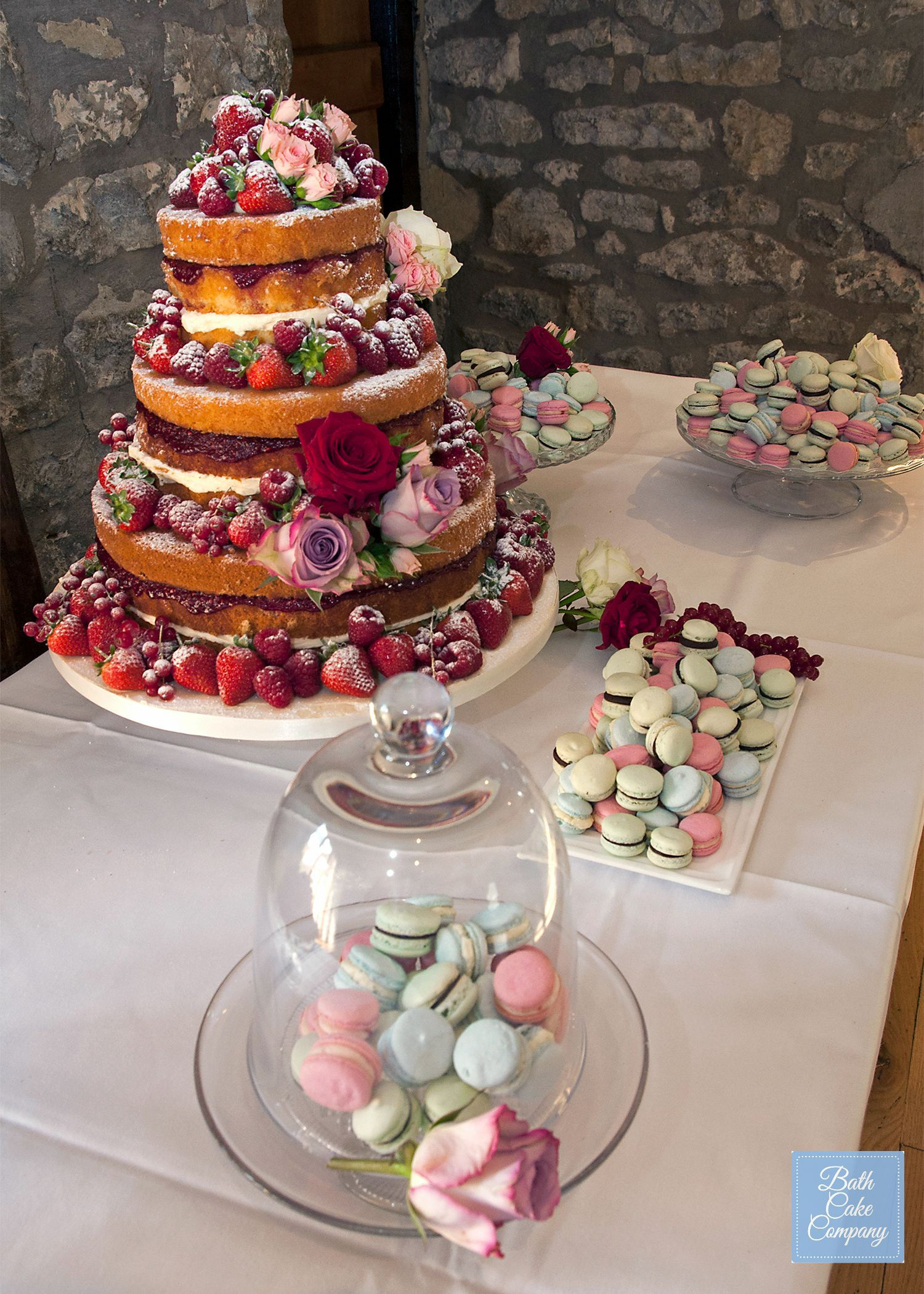 Rustic Wedding Cake Table With Macaroons And A Naked By Bath