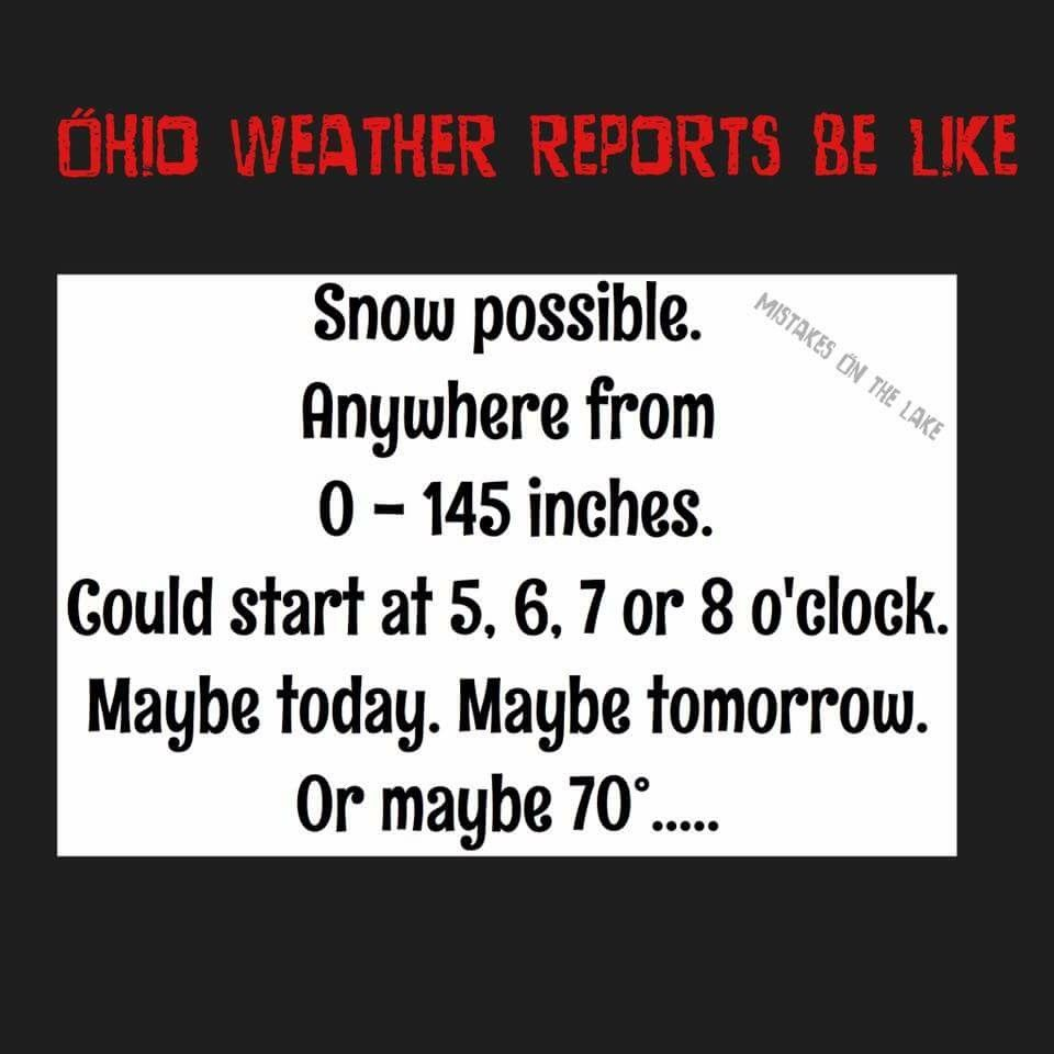 Ohio weather report  Snow possible, anywhere from 0 - 145