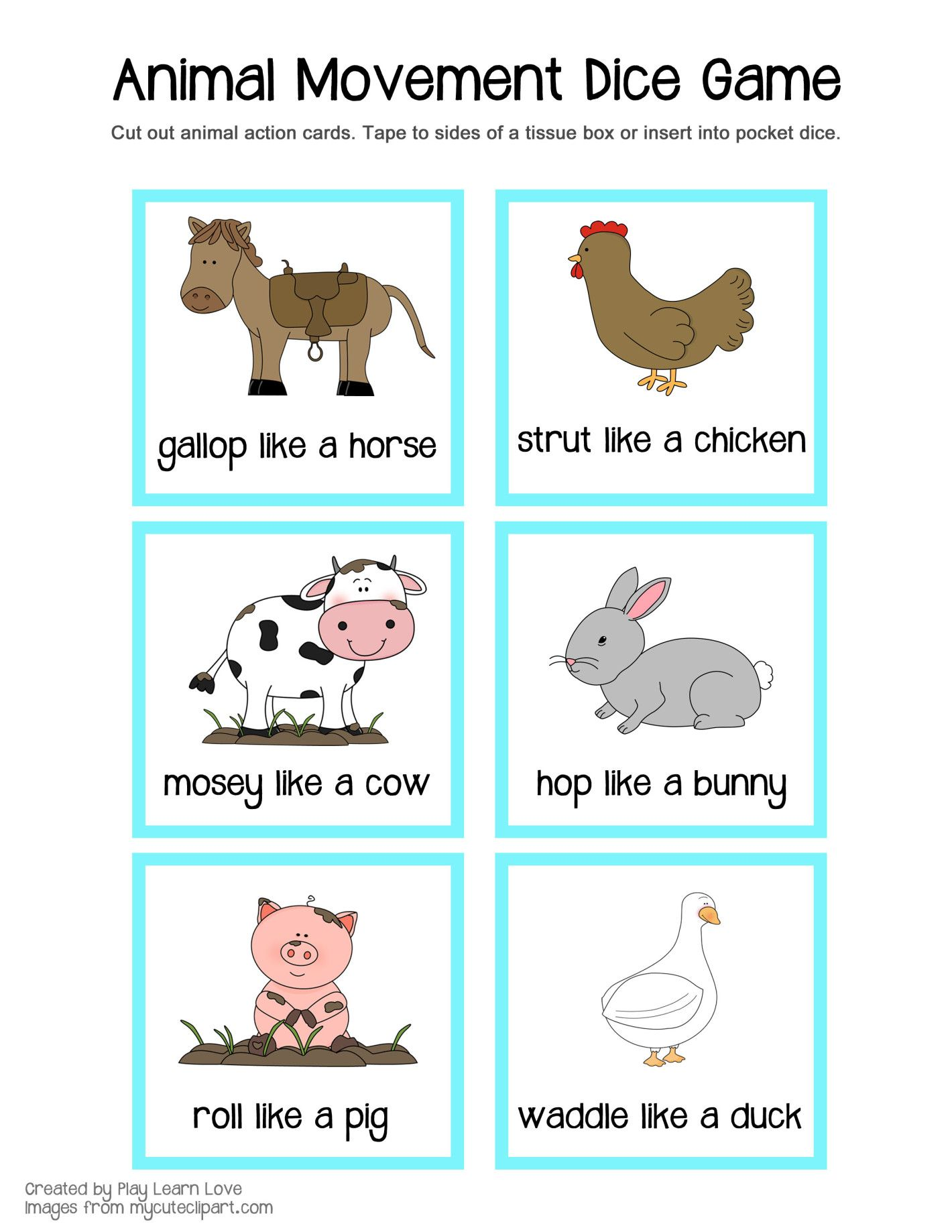 Farm Animal Gross Motor Game Printable