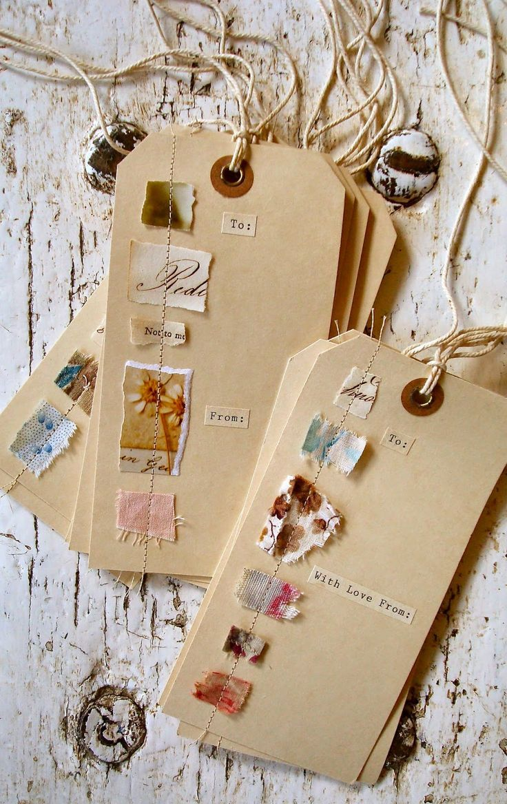 gift tags made by sewing on colorful scraps of this and that mighty creative and very budget. Black Bedroom Furniture Sets. Home Design Ideas