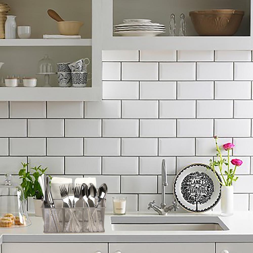 Mind Reader Silver Storage Basket Holder For Kitchen Utensils And Office Supplies Meshbasket Sil The Home Depot White Kitchen Tiles White Wall Tiles White Brick Tiles