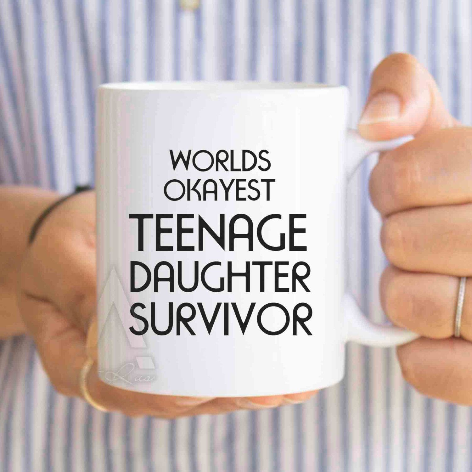 Fathers Day Gift From Daughter Quot Worlds Okayest Teenage Daughter Survivor Quot Funny Coffee Mug Father Mug Gifts Mother S Day Mugs Therapist Gifts Mugs