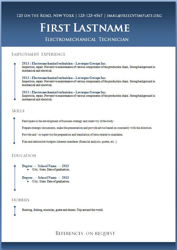 Word Resume Template Download Resume Badak
