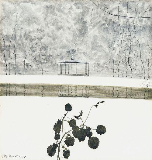 Léon Spilliaert (Belgian, 1881-1946), Paysage de neige, lierre et kiosque [Snowy landscape, ivy and kiosk], 1915.