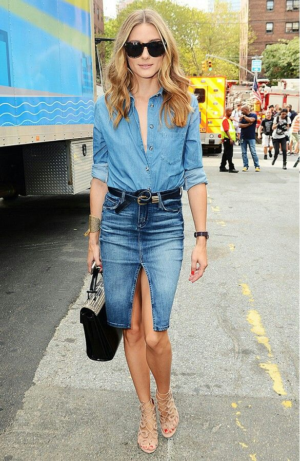 Olivia Palermo | Denim fashion, Denim skirt outfits, Fashion